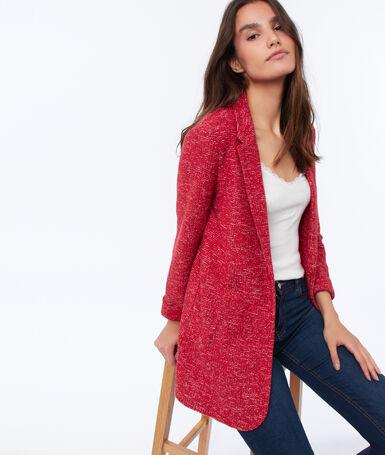 Suit collar jacket carmine red.