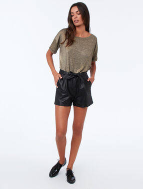 Leather-effect shorts black.