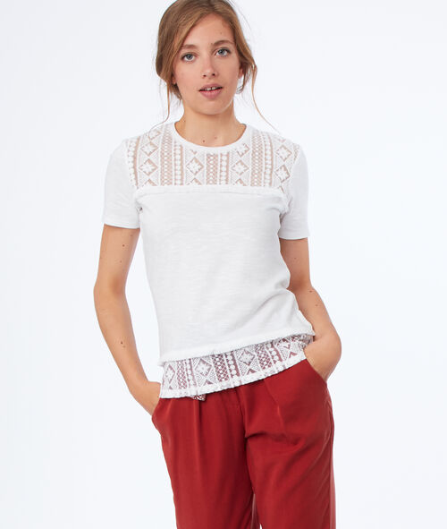 Short guipure-sleeved T-shirt