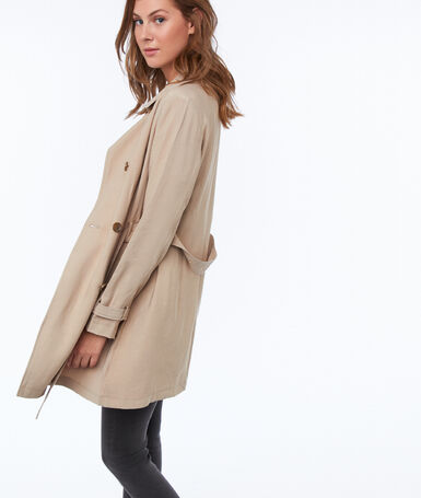3/4 belted trench coat beige.