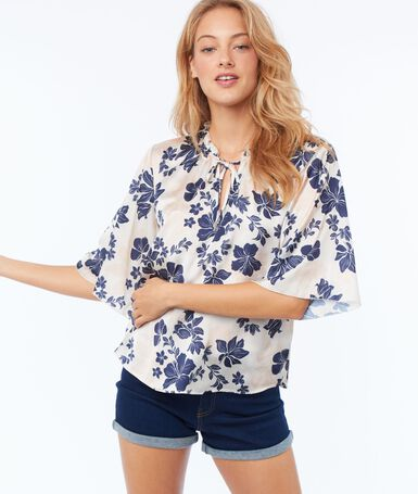 Satin effect blouse with flower print nude.