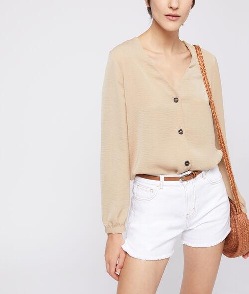 Button through v neck blouse