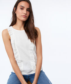 Sleeveless top with embroidered detail ecru.