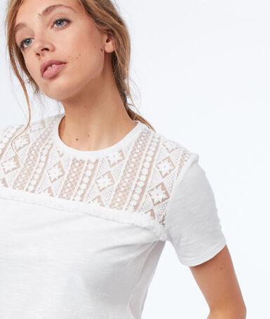 Short guipure-sleeved t-shirt ecru.