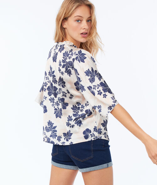 Satin effect blouse with flower print