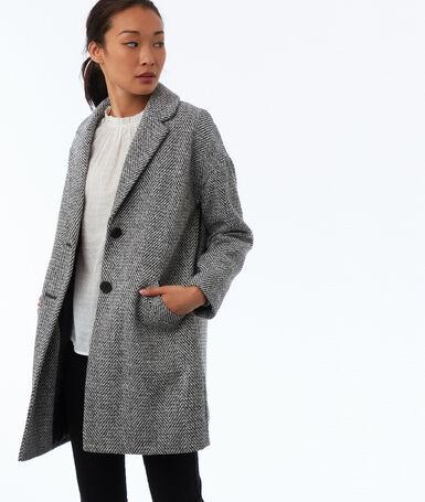 Manteau boutonné motifs chevron gris clair chiné.