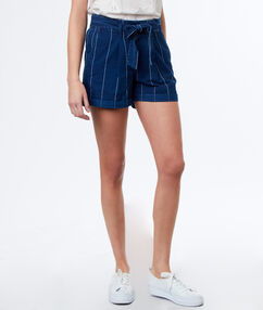 Belted short raw blue.