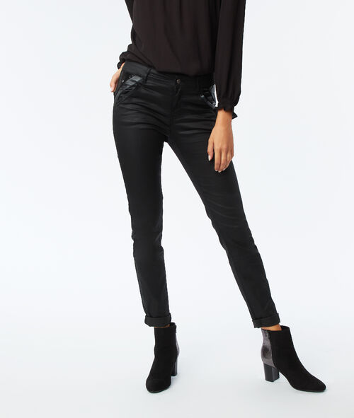 Coated slim leg jean