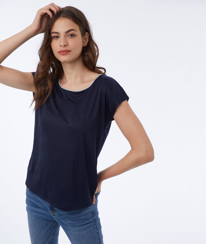 T-shirt with metallic edges navy blue.
