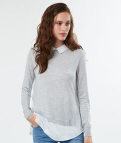 Jumper with shirt collar light gray.