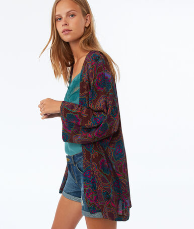 Printed kimono with 3/4 sleeves purple.
