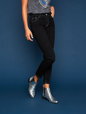 Skinny jeans with contrast stitching black.