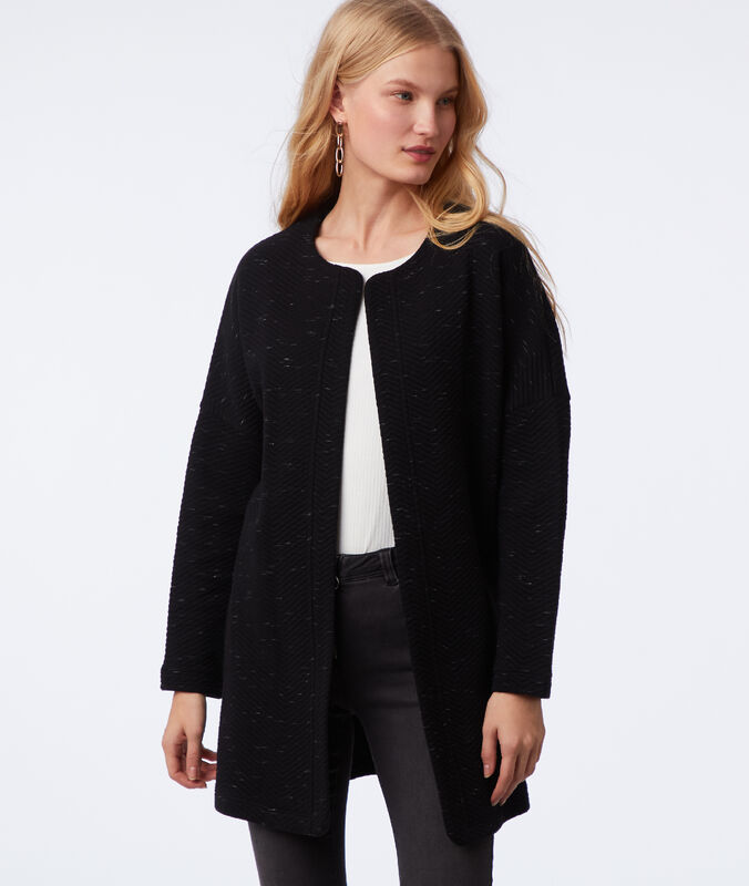 Jacket with metallic thread details black.