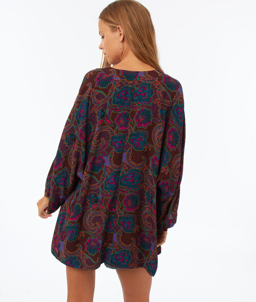Printed kimono with 3/4 sleeves