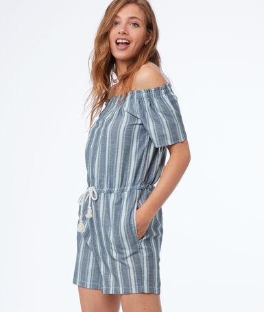 Bare-shouldered striped playsuit medium faded blue.