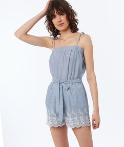 Strappy cotton playsuit blue light.
