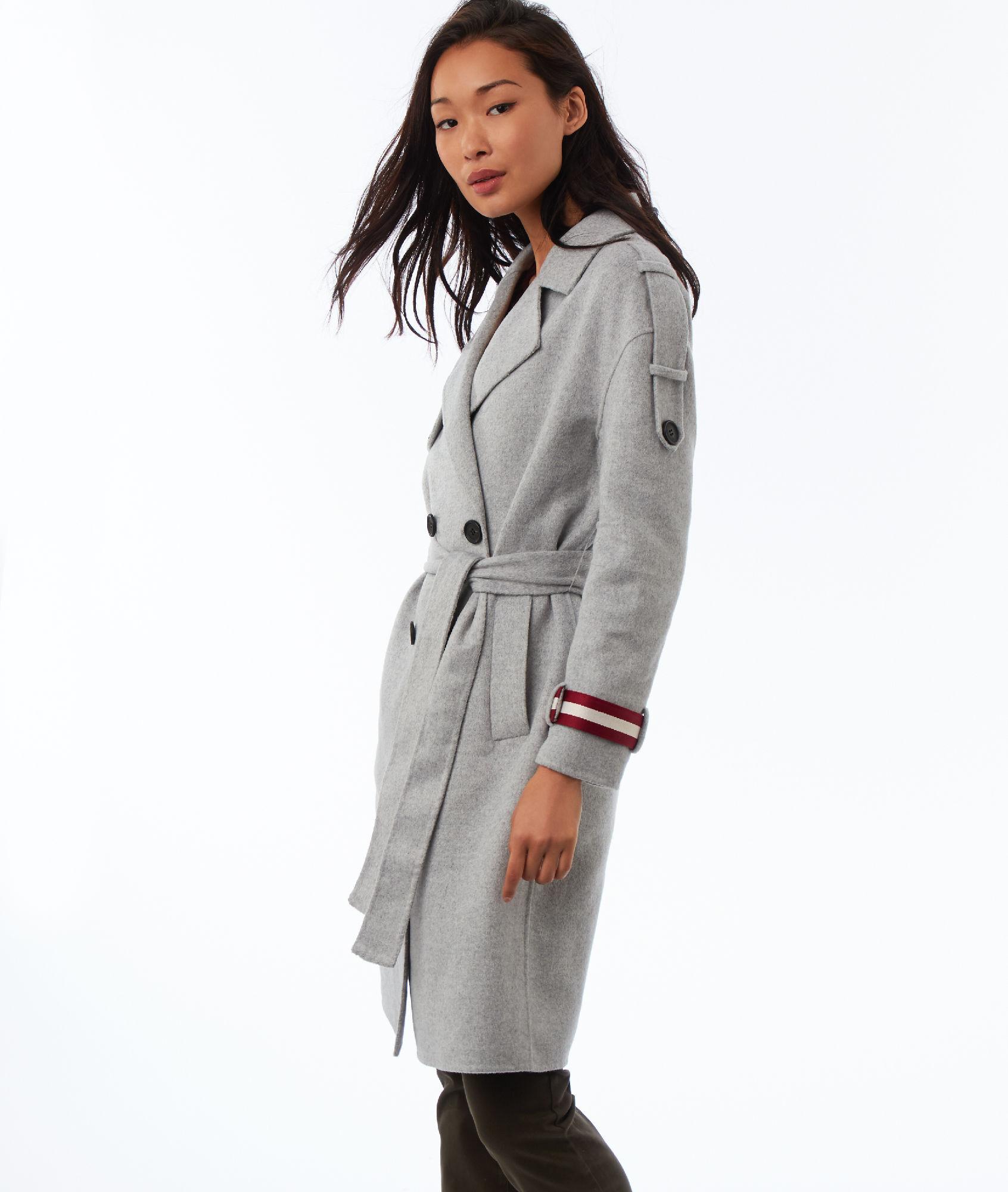 Manteau long gris clair