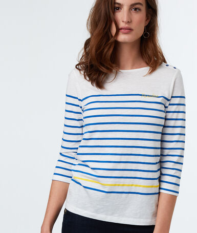 Striped cotton t-shirt blue.