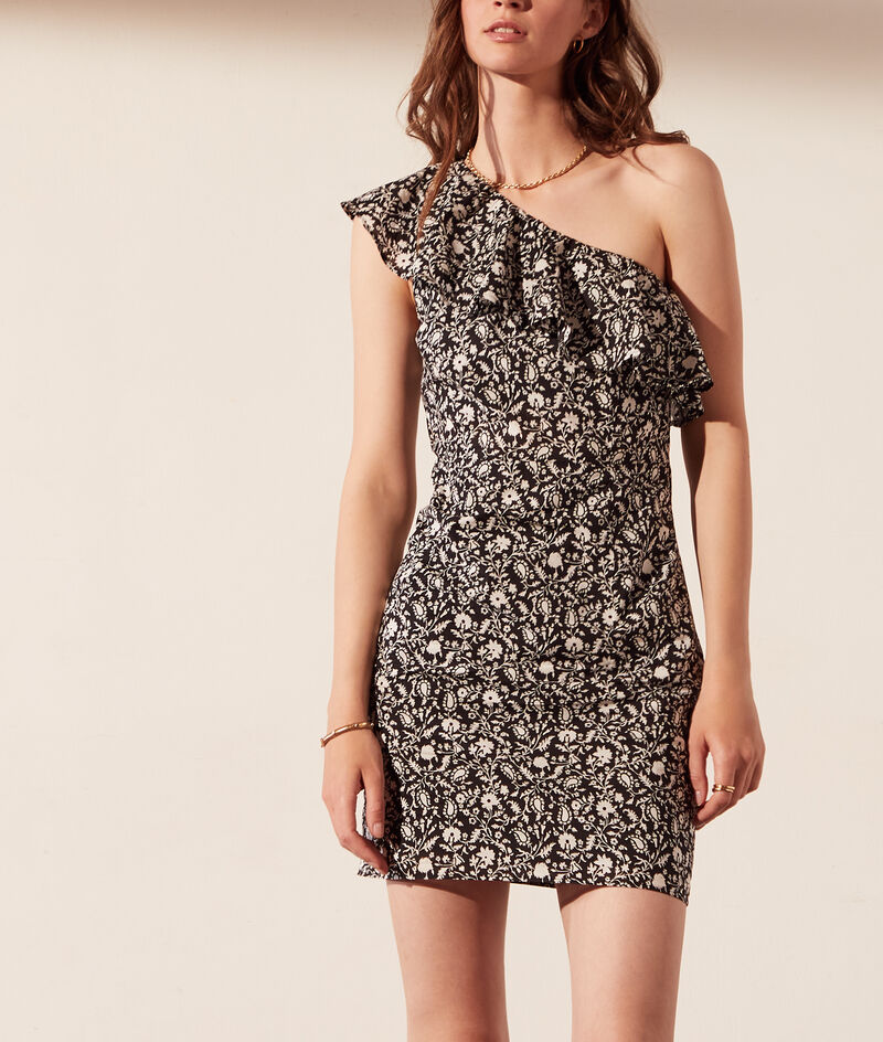 2-in-1 asymmetric dress with flounces and built-in bra