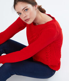 Cotton cable-stitch jumper red.