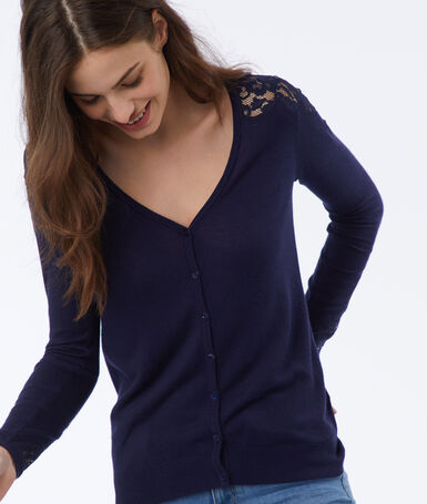 Cardigan with guipure details navy blue.