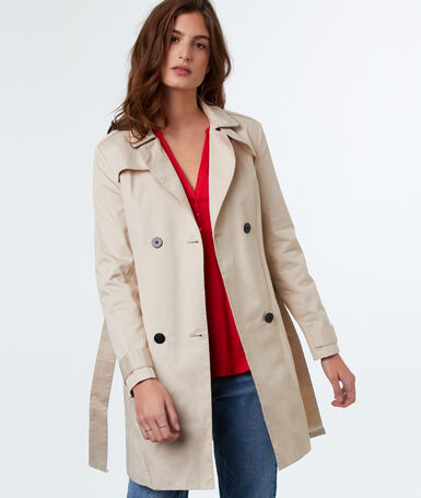 Cotton 3/4 trench coat beige.