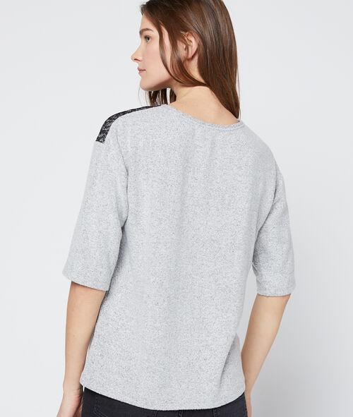 T-shirt with guipure yoke
