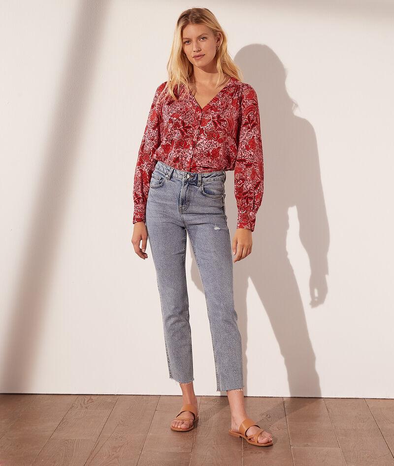 Printed cotton V-neck shirt