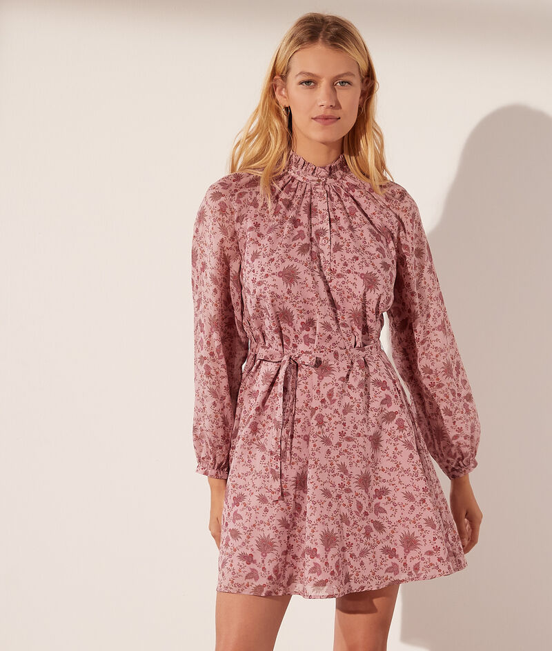 Printed cotton dress with tie fastening