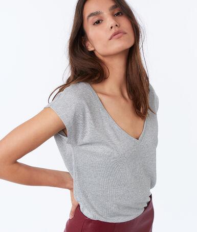 Metallic thread v-necked t-shirt light mottled gray.