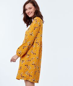 Floral print dress ochre.