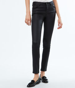 Oilcloth slim-fit trousers black.