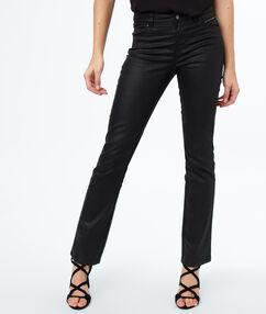 Oilcloth straight-leg trousers black.