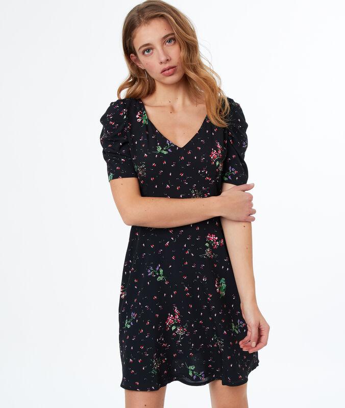 Flowing floral print dress black.