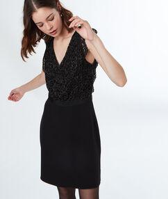 Lace insert dress black.