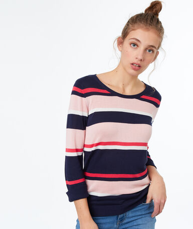Stripy wide-necked jumper fuchsia.
