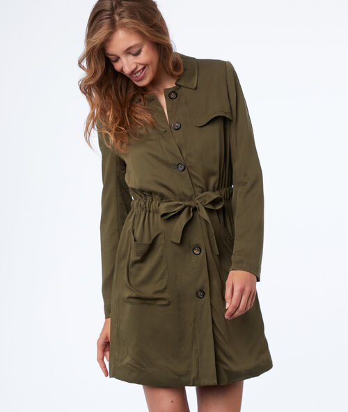 3/4-length flowing trench coat