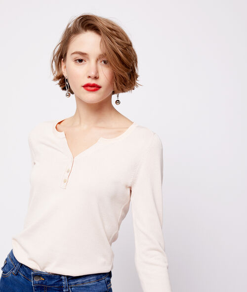 Knitted button neck top