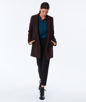Wool blend three quarter length coat red and black.