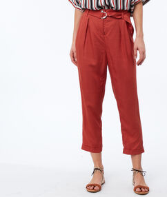Woven peg trousers with obi tie tomato red.