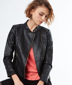 Leather-effect biker jacket black.