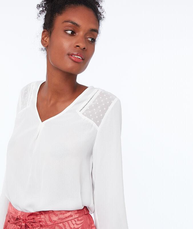 Plumetis back blouse ecru.