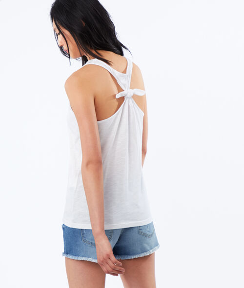 Printed tank top, knotted detail back