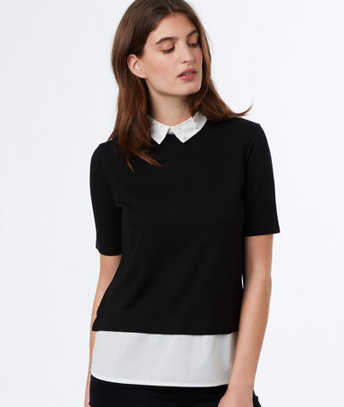 Collar shift top black.