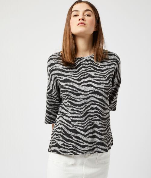T-shirt maille douce à imprimé zèbre