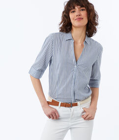 Striped cotton blouse navy blue.