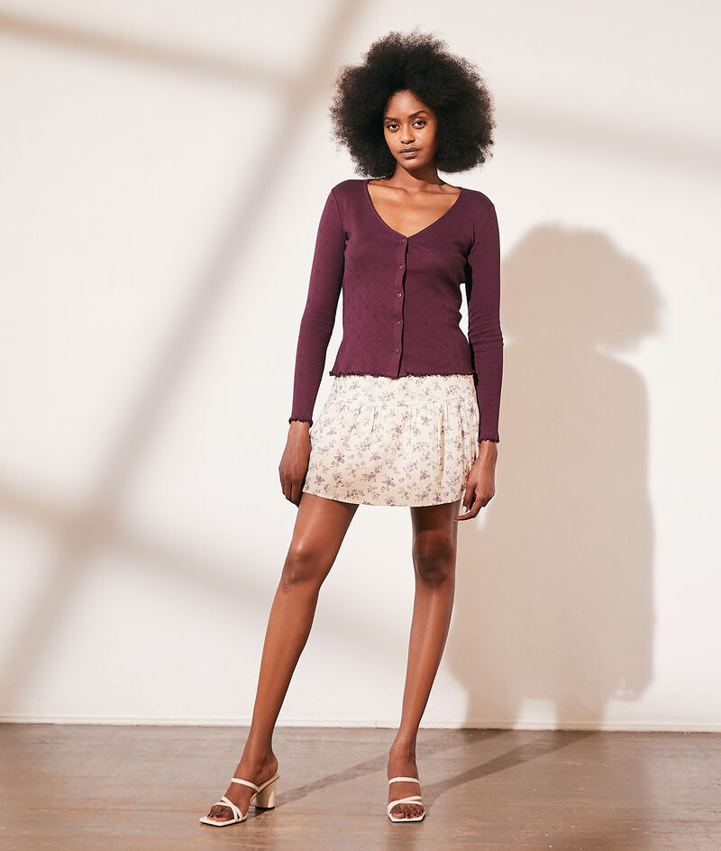Knit cardigan in Cotton pointelle