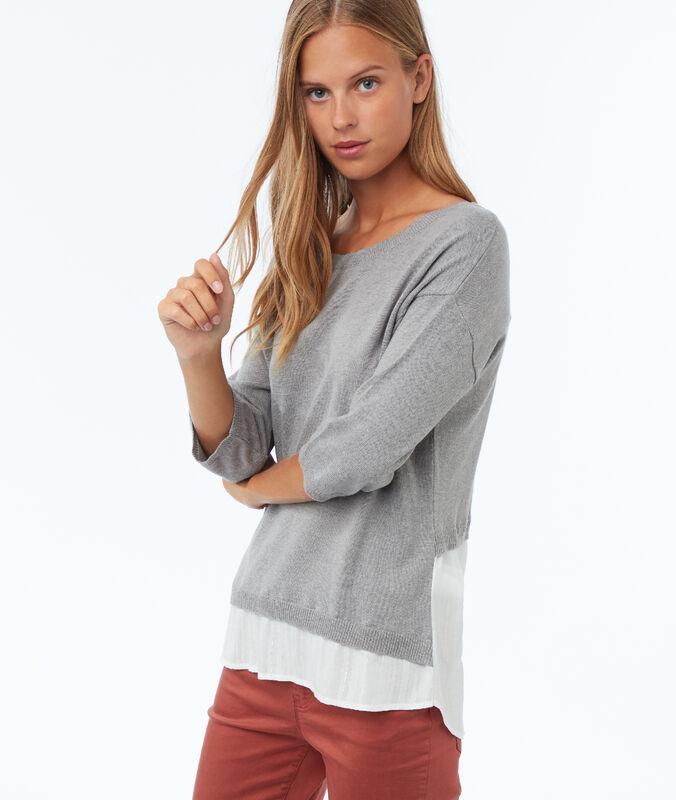 3/4 sleeves hybrid jumper light grey marl.