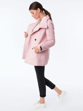 Button down three quarter length coat pale pink.