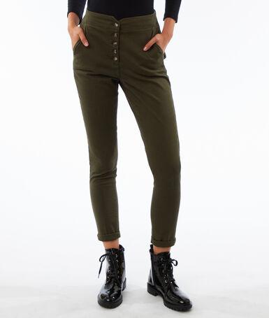 High waist buttoned peg leg trousers khaki.